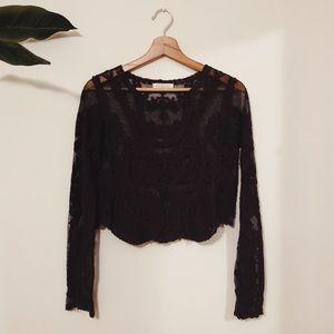 Patterned Lace Crop Top